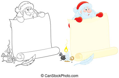Santa Claus - Santa holding a scroll of paper for holiday ad...