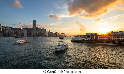 Time lapse of sunset in Hong Kong - VICTORIA HARBOUR, HONG...