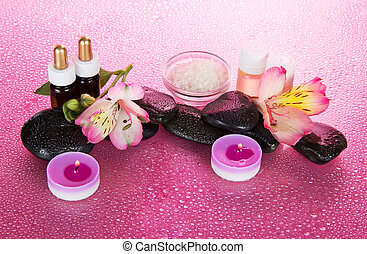 Candles and aroma oil, salt, stones, flower - Candles and...