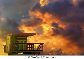 Lifeguard Station - Lifeguard station on the beach (Miami...