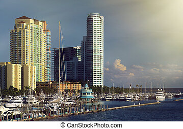 Miami Beach Marina - Biscayne Bay, Miami Beach, Florida,...