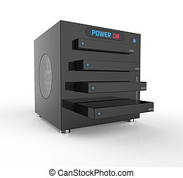 Data storage - NAS,network attached storage, with four hard...