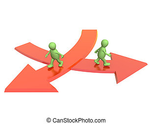Concept - different direction in business - Conceptual image...