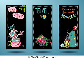 banners with cups, teapots and tea, tea card on a black...