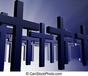 Many christian crosses - Many christian church crosses in...