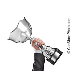 winner - Businessman holding a champion silver trophy