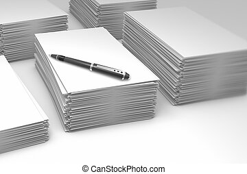 Piles paper - Stacks of blank paper as a concept