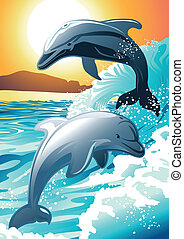 Two dolphin swimming at a beach at sunrise .