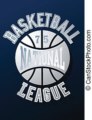 Basketball National League on a navy blue background