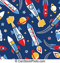 foguetes, espaço, seamless, Padrão