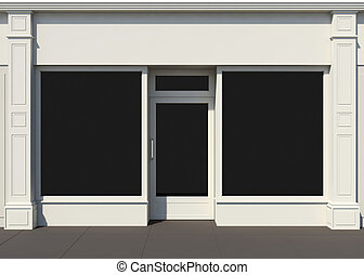 Shopfront with large windows White store facade
