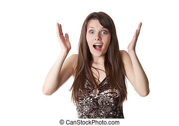 Beautiful shocked girl Isolated on a white backround