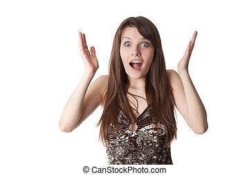 Beautiful shocked girl . Isolated on a white backround