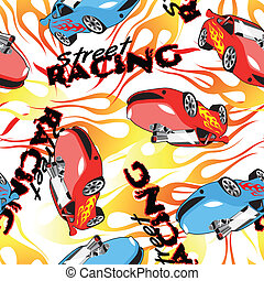 Street racing seamless pattern on a white background.