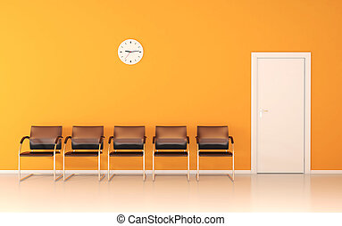 Waiting room with yellow wall