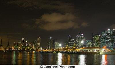 Port of Singapore at Night 1080p - SINGAPORE, SINGAPORE -...