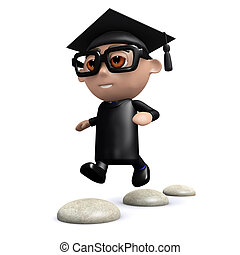 3d Graduate skips over stepping stones - 3d render of a...