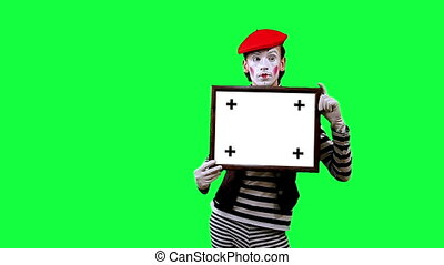 Mime with a sign