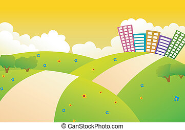 Beautiful City On The Green Hills W - Vector Illustration Of...