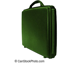 Case on white background - Green business case on a white...