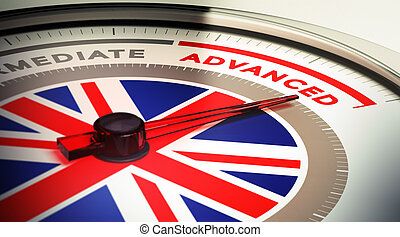 English Courses Level - Dial with english flag with needle...