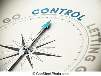 Self Control - Psychology concept. Compass needle pointing...