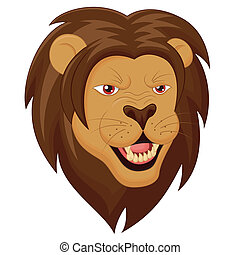 Angry Lion Head Cartoon - Vector Illustration Of Angry Lion...