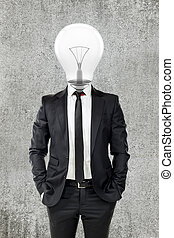 businessman with light bulb head, creativity in business concept