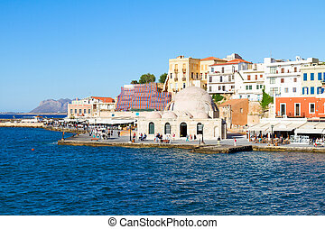 venetian habour and Turkish Mosque Yiali Tzami of Chania,...