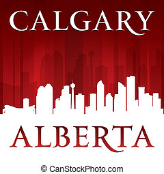 Calgary Alberta Canada city skyline silhouette red background