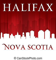 Halifax Nova Scotia Canada city skyline silhouette red...