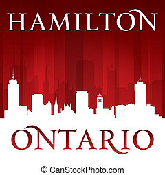 Hamilton Ontario Canada city skyline silhouette red background