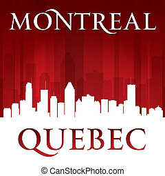 Montreal Quebec Canada city skyline silhouette red...