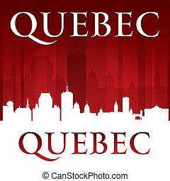 Quebec Canada city skyline silhouette red background