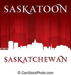 Saskatoon Saskatchewan Canada city skyline silhouette red...