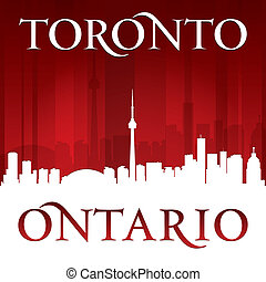 Toronto Ontario Canada city skyline silhouette red background