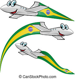 airoplane cartoon with brazil flag