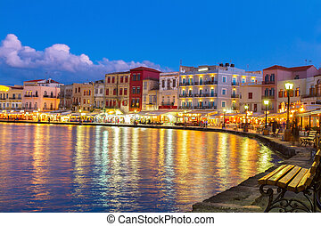 venetian habour of Chania, Crete, Greece - illuminated...