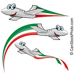 airoplane cartoon with italian flag