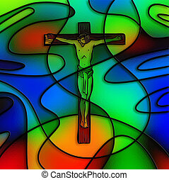 Stained Glass Crucifixion - The Lord Jesus Christ on the...
