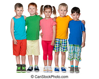 Group of five fashion children