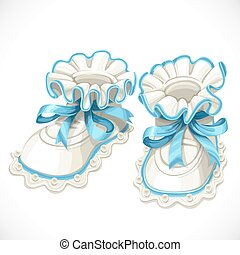 Baby blue booties isolated on white background