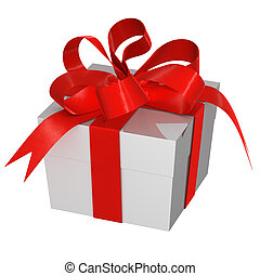 Christmas Present box with Bow, image isolated