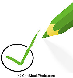 Choice: green pencil with hook - vector illustration