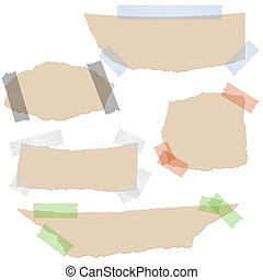 Collection - brown scraps of paper with tape