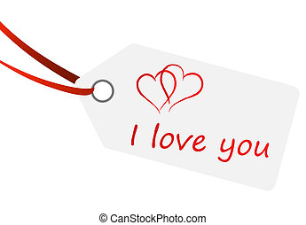 """hangtag with text """" i love you """""""