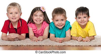 Children on the white carpet
