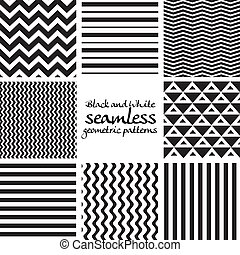 Set of black and white seamless geometric patterns 1