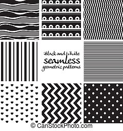Set of black and white seamless geometric patterns 2