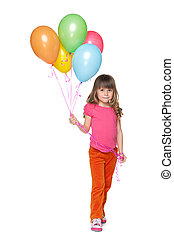 Happy little girl with balloons